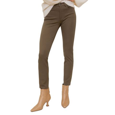 Mango Khaki Cotton Crop Trousers