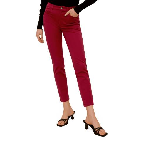 Mango Maroon Cotton Crop Trousers