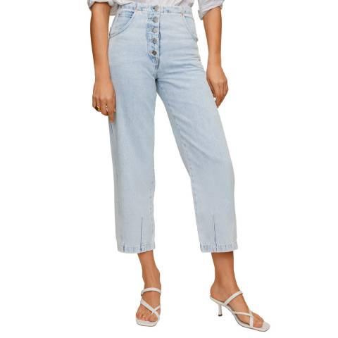 Mango Light Blue Straight-Fit Light Wash Jeans