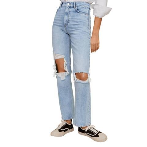 Mango Medium Blue Straight-Fit Decorative Rips Jeans