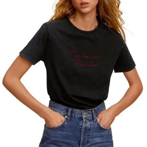Mango Charcoal Message Cotton T-Shirt