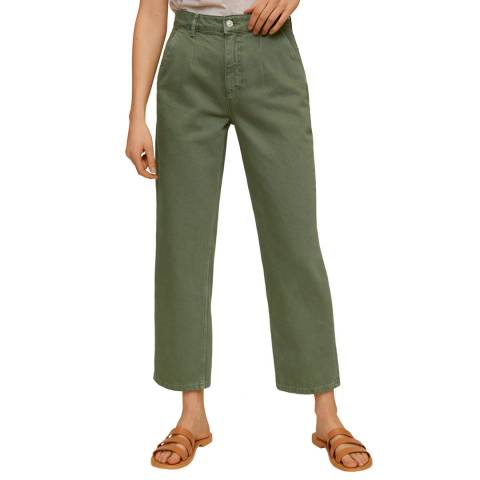 Mango Green Cropped Darts Jeans
