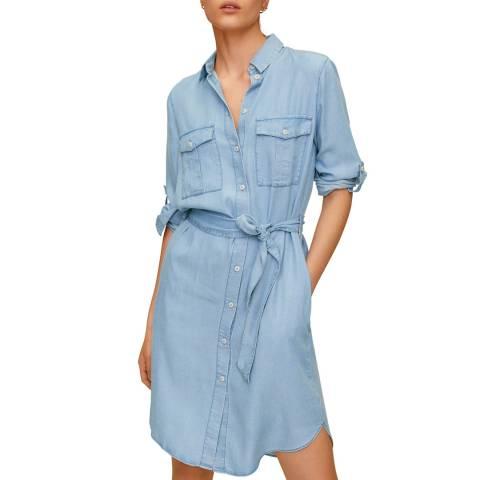 Mango Medium Blue Short Shirt Dress