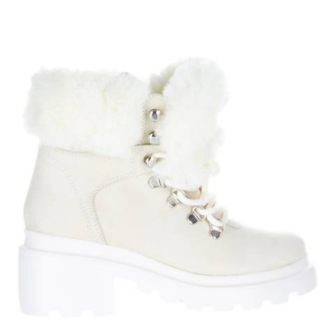 Kendall + Kylie White Roan Vegan Leather Hiker Boots