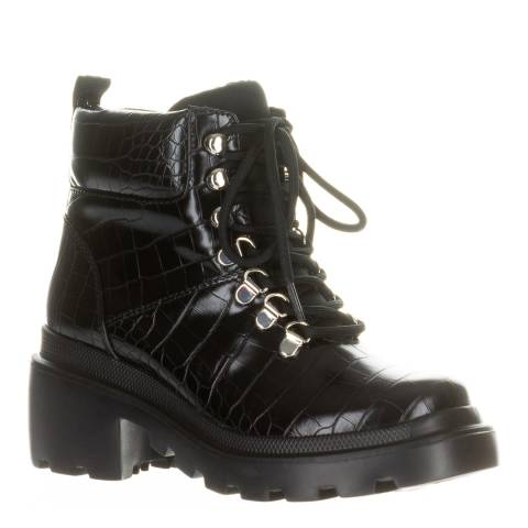 Kendall + Kylie Black Rory Vegan Leather Croc Hiker Boots