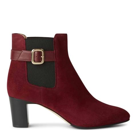 Hobbs London Patricia Buckle Boot Burgundy Fine Suede Ankle Boot