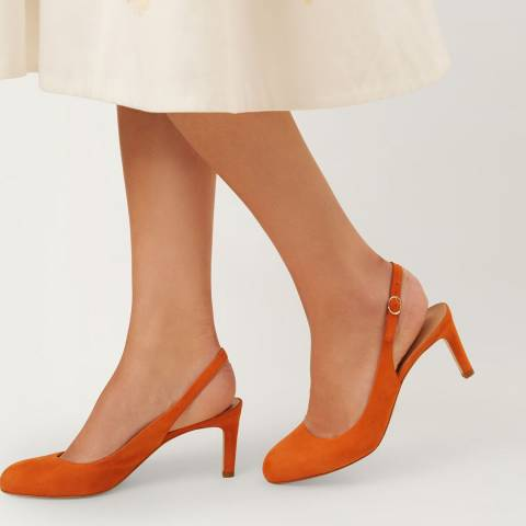 Hobbs London Sophia Slingback Sunset Orange Fine Suede Sling Backs