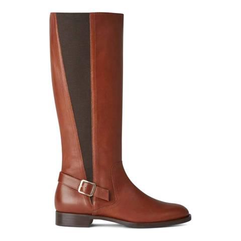 Hobbs London Nicole Buckle Boot Tan Vitello Long Boot