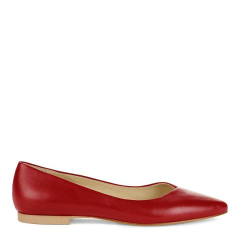 Hobbs London Emily Flat Scarlet Red Leather Mix Flats