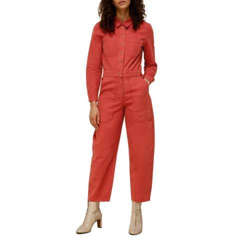WHISTLES Pink Gabby Cotton Denim Jumpsuit