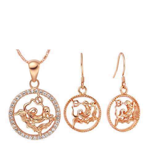 Ma Petite Amie Rose Gold Plated Aquarius Jewellery Set with Swarovski Crystals
