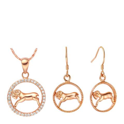 Ma Petite Amie Rose Gold Plated Aries Jewellery Set with Swarovski Crystals