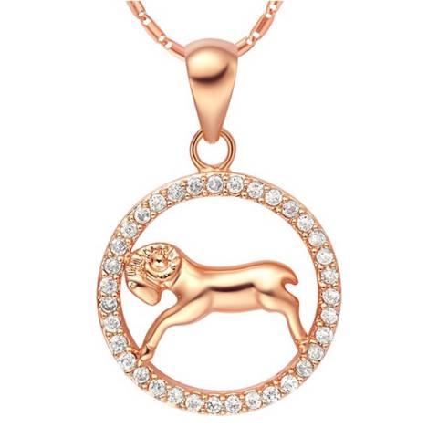 Ma Petite Amie Rose Gold Plated Aries Necklace with Swarovski Crystals