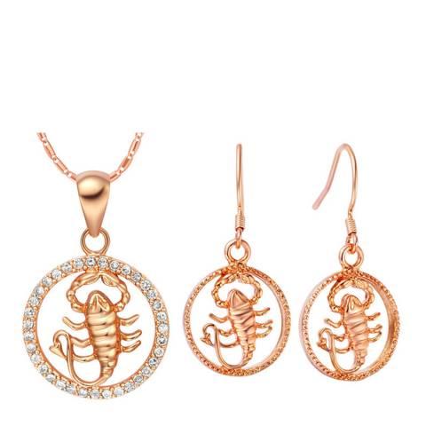 Ma Petite Amie Rose Gold Plated Scorpio Jewellery Set with Swarovski Crystals