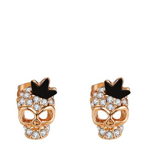 Ma Petite Amie Rose Gold Plated Skull Earrings with Swarovski Elements