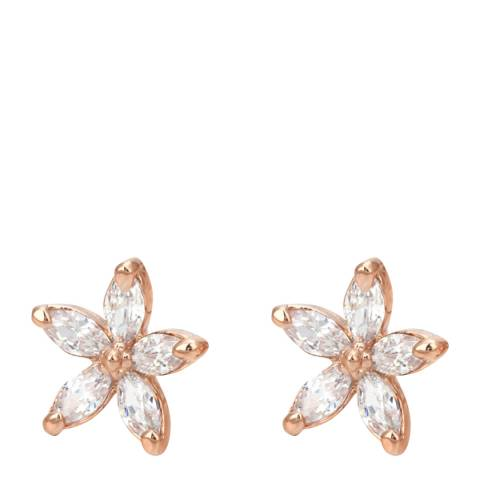 Ma Petite Amie Rose Gold Plated Flower Earrings with Swarovski Elements