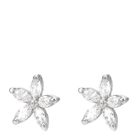 Ma Petite Amie White Gold Plated Flower Earrings with Swarovski Elements