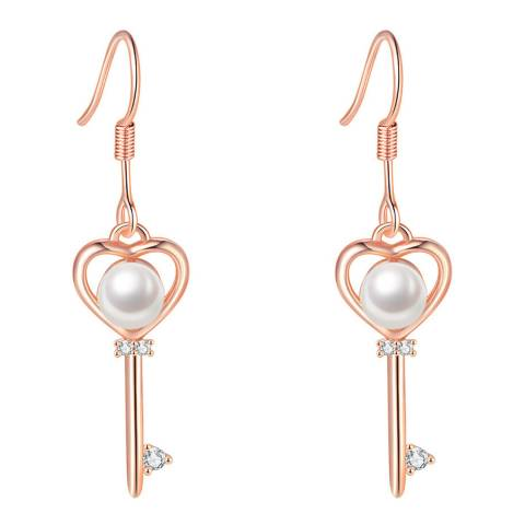 Ma Petite Amie Rose Gold Plated Key Earrings with Swarovski Elements