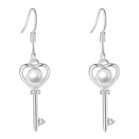Ma Petite Amie White Gold Plated Key Earrings with Swarovski Elements