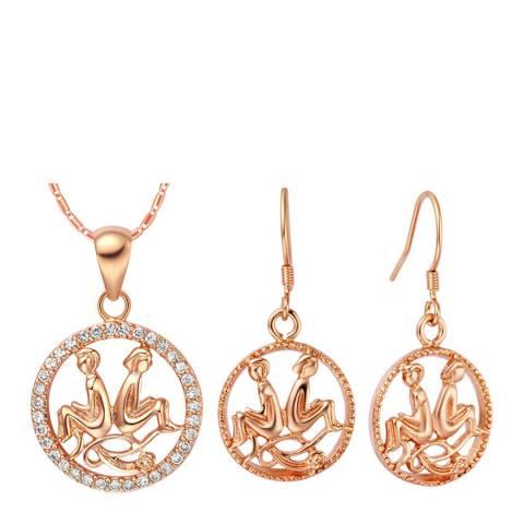 Ma Petite Amie Rose Gold Plated Gemini Jewellery Set with Swarovski Crystals