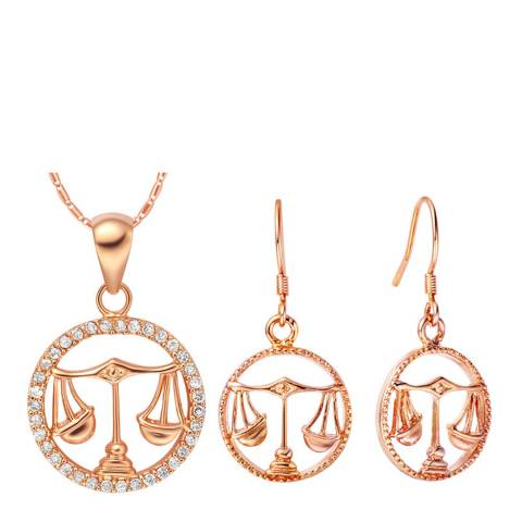 Ma Petite Amie Rose Gold Plated Libra Jewellery Set with Swarovski Crystals