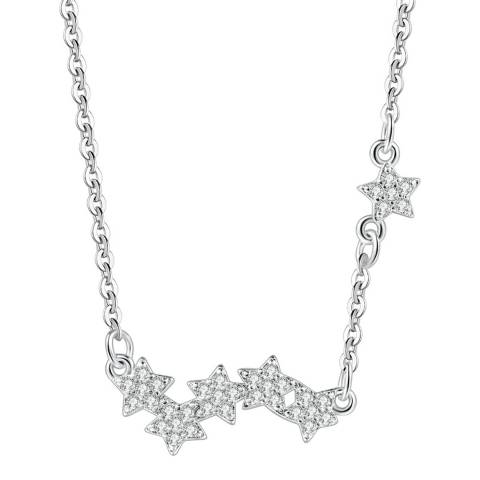 Ma Petite Amie White Gold Plated Stars Necklace with Swarovski Elements