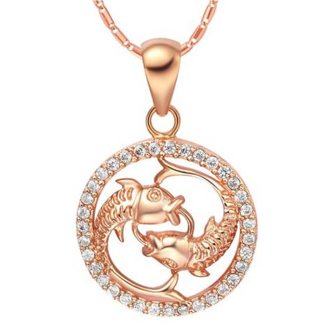 Ma Petite Amie Rose Gold Plated Pisces Necklace with Swarovski Crystals