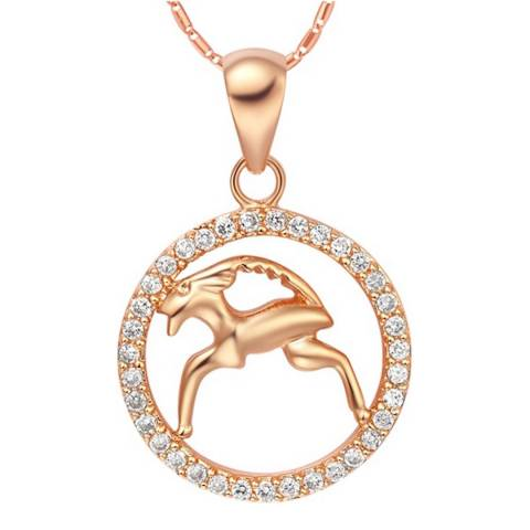 Ma Petite Amie Rose Gold Plated Capricorn Necklace with Swarovski Crystals