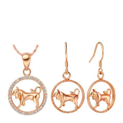 Ma Petite Amie Rose Gold Plated Taurus Jewellery Set with Swarovski Crystals