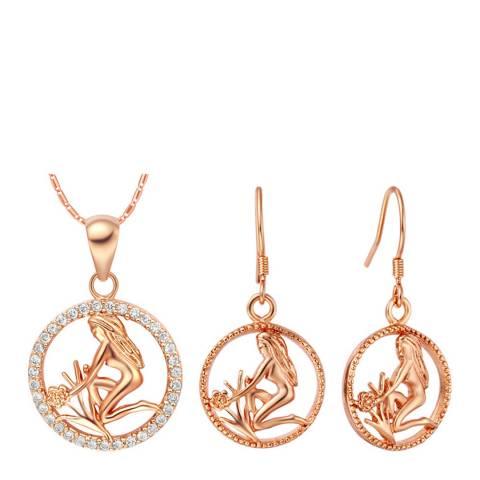 Ma Petite Amie Rose Gold Plated Virgo Jewellery Set with Swarovski Crystals