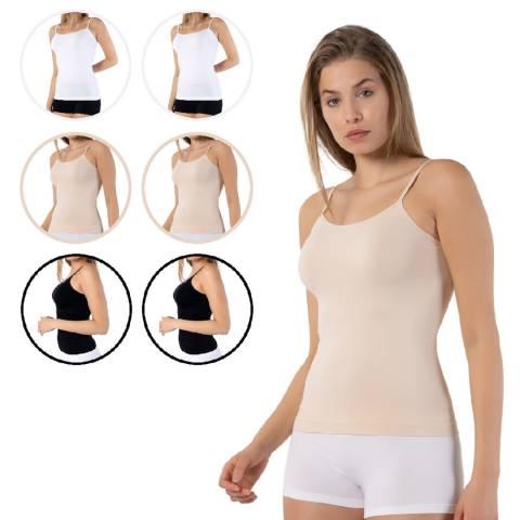 Formeasy 6 Pack 2 White  2 Black 2 Beige Seamless Singlet