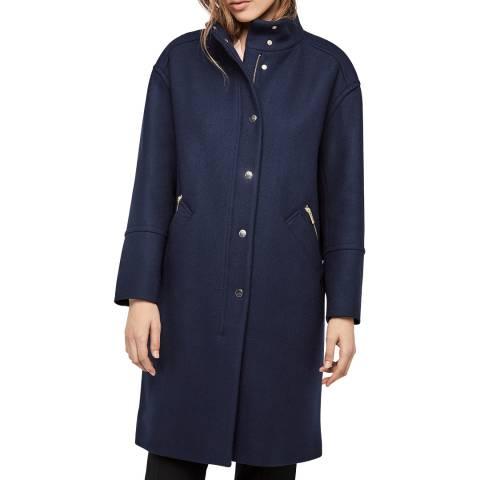 Gerard Darel Navy Wool Blend Long Coat