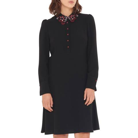Gerard Darel Black Cap Sleeves Dress