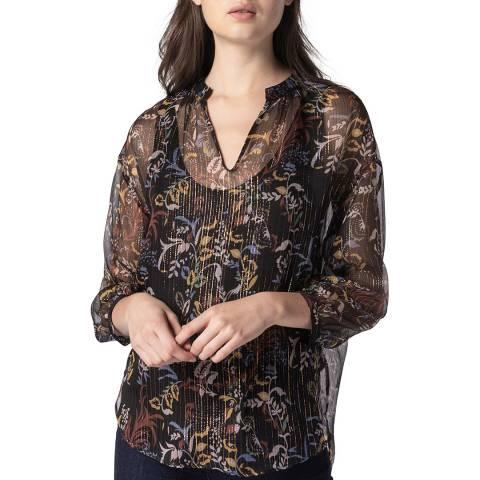 Gerard Darel Multi Silk Blend Relaxed Blouse
