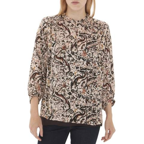 Gerard Darel Pink/Multi Silk Blend Blouse