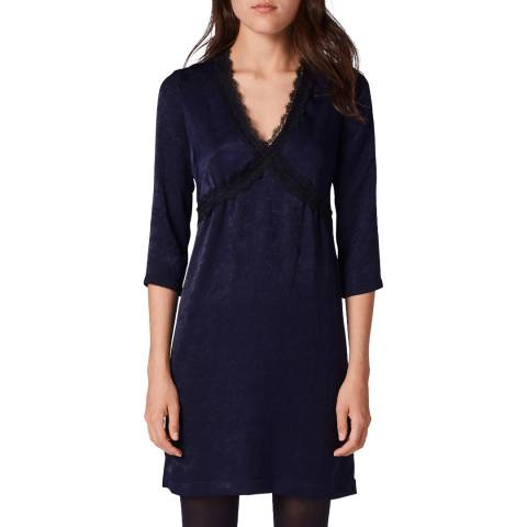 Gerard Darel Navy Deep V Neck Dress