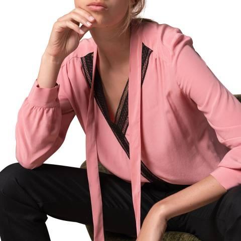 Gerard Darel Pink Tie Neck Blouse