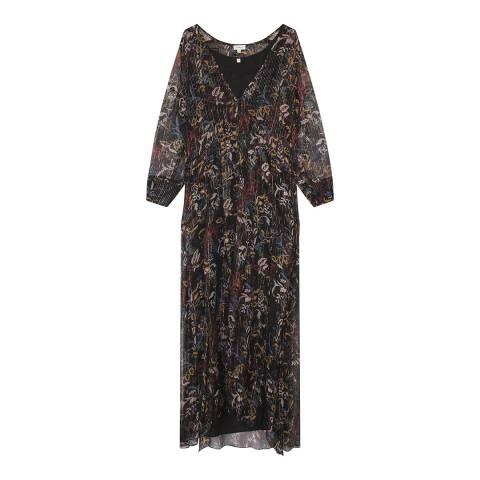 Gerard Darel Black Silk Blend Midi Dress