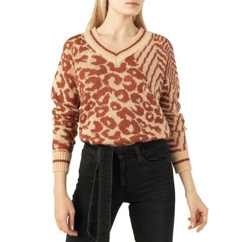 Gerard Darel Brown Leopard Wool Blend Jumper