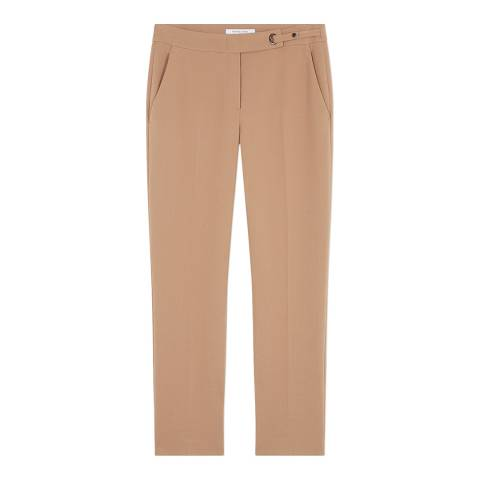 Gerard Darel Camel Mid Rise Stretch Trousers