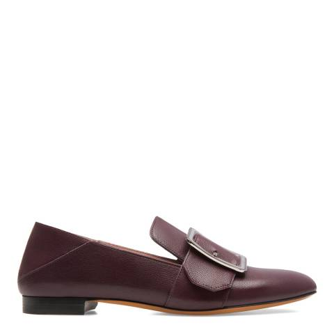 BALLY Burgundy Suede Janelle Flat Pump Loafers