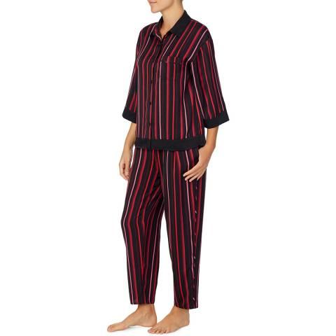 Donna Karan Black/Red Painted Dream Top & Pant Set