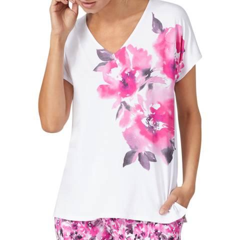 Donna Karan White Floral April Blooms Top