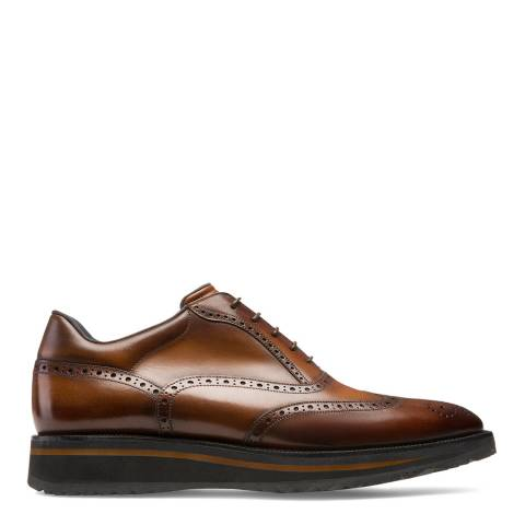 BALLY Tan Leather Stiven Sporty Oxford Shoe
