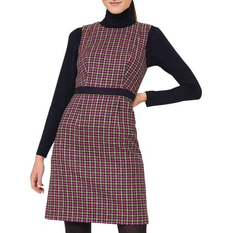 Hobbs London Pink Check Wool Penelope Dress