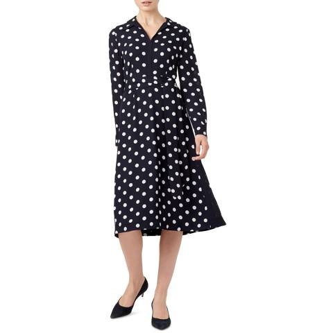 Hobbs London Navy Spot Georgiana Dress