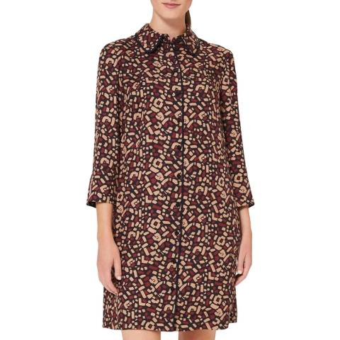 Hobbs London Deep Red Print Aubery Dress