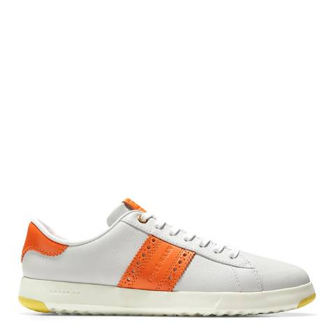 Cole Haan White/Orange GrandPro Tennis Classic Sneakers