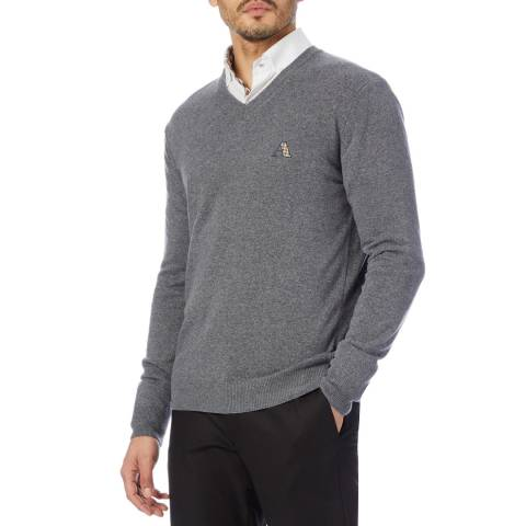 Aquascutum Dark Grey V Neck Wool Blend Jumper