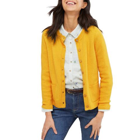 White Stuff Yellow Cafe Button Wool Cardi
